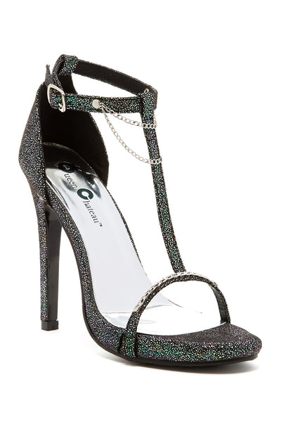 Chainlink Glitter Heeled Sandal Strappy Open Toe Sexy Heels Women
