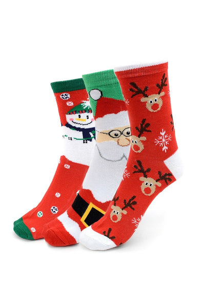 Ladies Christmas Holidays Santa Crew Socks 3 Pairs in a Pack
