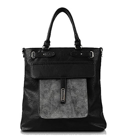 Alicia Perforated Top Handle Smooth Leatherette with Matching Trim Black or Beige