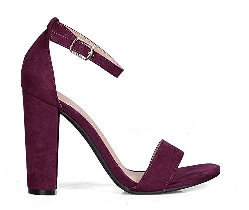 Purple Vegan Suede Ankle Strap Open Toe Chunky Heel Women's Shoes