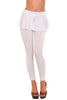 Mid Rise Peplum Pants Stretch Fitted Bodycon Leggings White