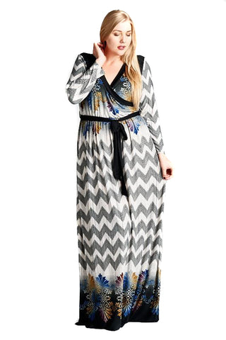 Plus Size Chevron Abstract Multi Print Womens Maxi Dress U.S.A