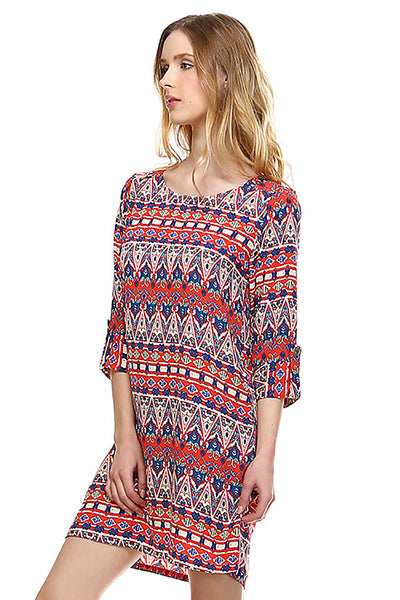 Womens Red Blue Abstract Print 3/4 Sleeve Multi Shift Dress U.S.A