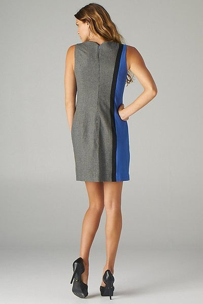 Esley Blue Grey Colorblock Sleeveless Mod Inspired Trendy Shift Dress