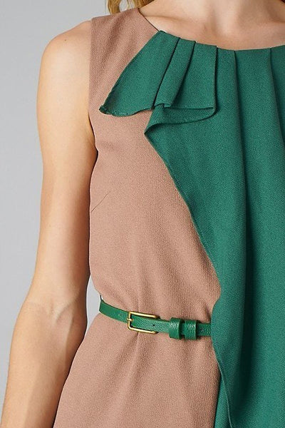 Esley Belted Tan Green Colorblock Sleeveless Ruffle Cocktail Dress