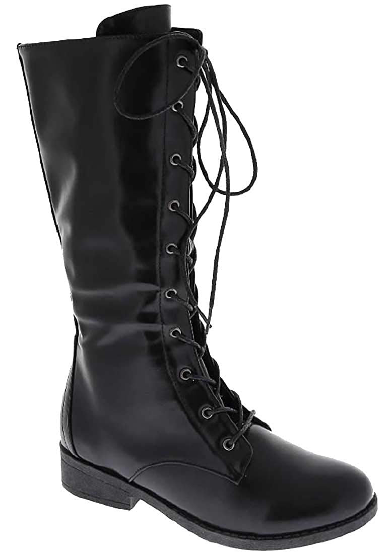 Lace up Military Style Combat Boots Women's Boots Vegan Leather Below The Knee