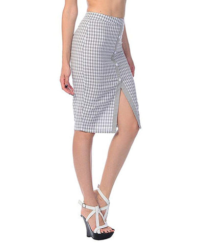Rockabilly Retro Gingham Checkered High Waist Pin-up Pencil Skirt Size Small