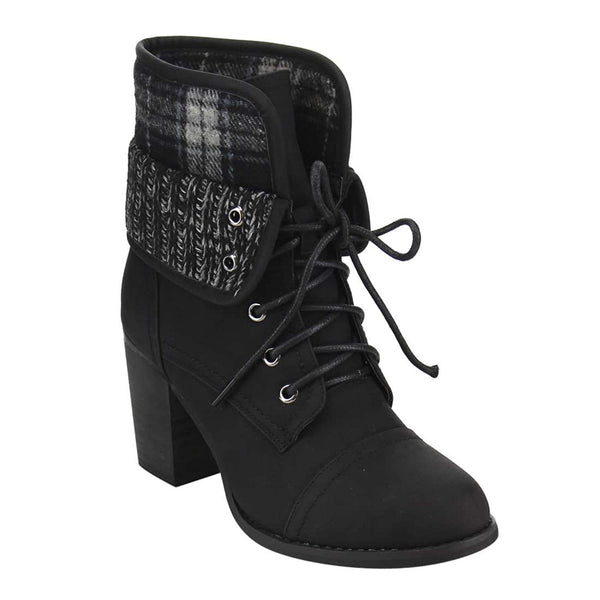 Plaid Sweater Cuff Fold-down Lace-up Ankle Booties Vegan Leather Women's