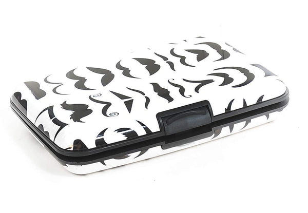 Skulls | Cars | Mustaches | Aluminum Wallet Accordion Design ID Theft Protection Easy Open Card Case