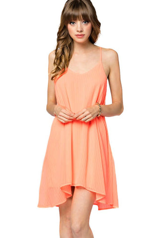 Womens Bright Neon Coral Sleeveless Shift Fashion Dress U.S.A