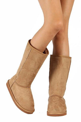 Window-1 Round Toe Mid Calf Boot Women's Vegan Suede