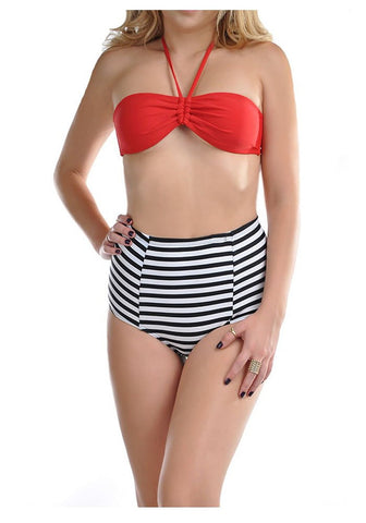 Red Striped High Waisted Halter Bandeau Two Piece Bikini Swimsuit