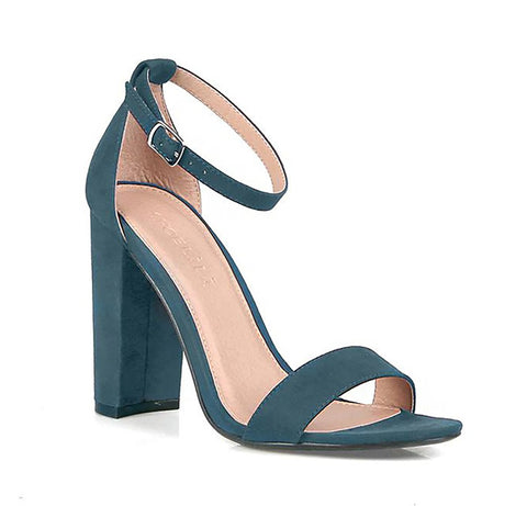 Teal Vegan Suede Ankle Strap Open Toe Chunky Heel Women's Shoes