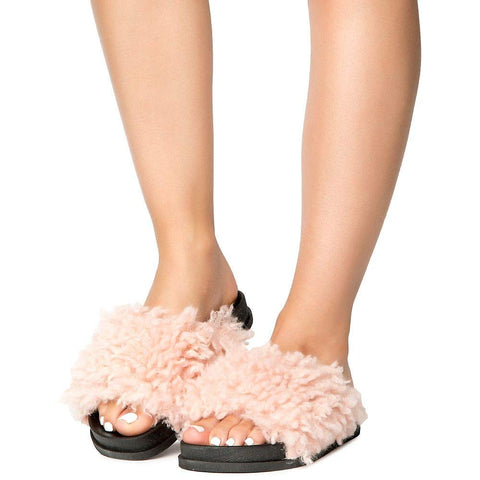 97940793d4a Fuzzy Vegan Shearling Open Toe Footbed Slip On Sandal Pink ...