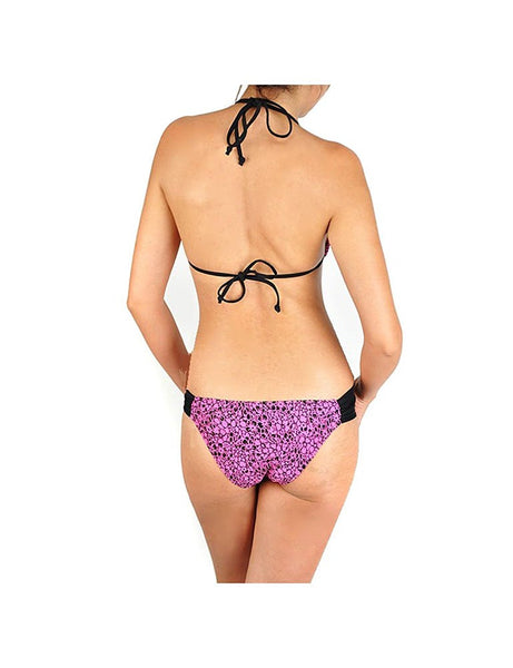 Pink Floral Print Gold Bead Accent String Bikini
