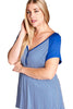 Striped Blue Short Sleeve Women's Plus Size Fashion Shirt Top U.S.A