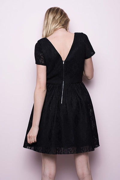 Womens Black Lace Short Sleeve Zipper Mini Cocktail Dress