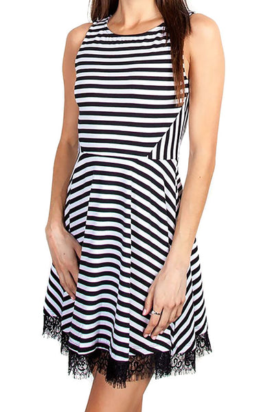 Black Striped Sleeveless Lace Trim Fit & Flare Skater Dress