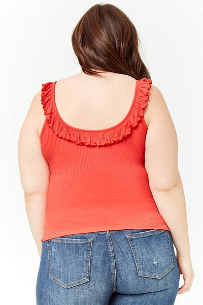 Womens Coral Plus Size Ruffle Ribbed Knit Top