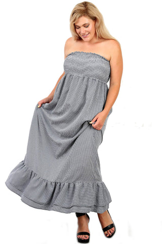 Plus Size Navy Seersucker Checkered Tube Ruffled Maxi Dress