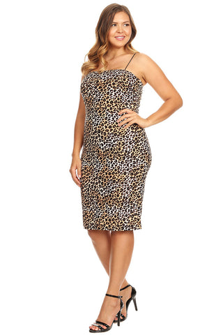 Plus Size Bodycon Lined Dress with Spaghetti Strap U.S.A