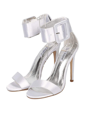 Silver Satin Open Toe Ankle Cuff Stiletto High Heel Sandal