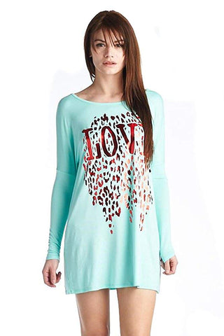 Mint Green Metallic Leopard Love Long Sleeve Shirt Dress Tunic U.S.A