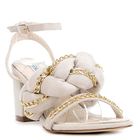 Nude Braided Chain Detail Chunky High Heels Faux Suede