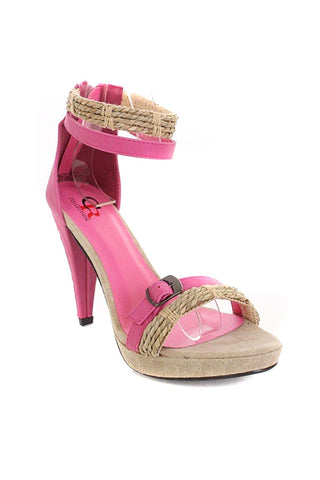Pink Straw Vegan Leather Anklet Strappy Heels