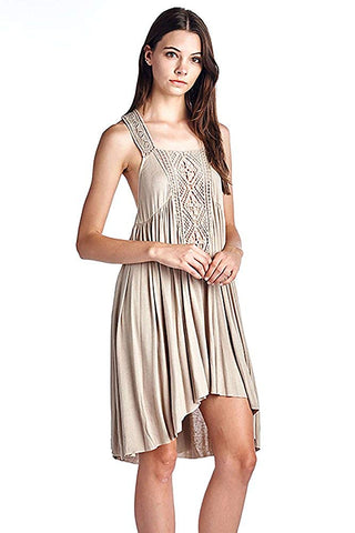 Womens Bohemian Fashion Crocheted Solid Jersey Knit Dress Beige