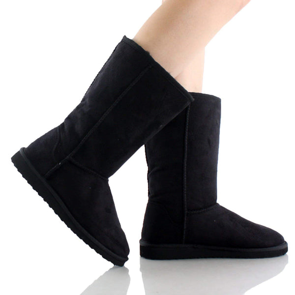Black Furry Winter Boots Vegan Fleece Women