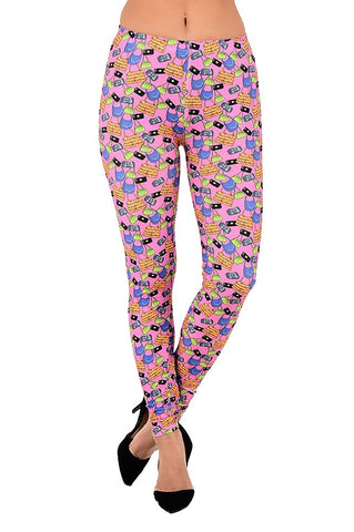 Womens Fun Colorful Fashion Print Full Length Leggings Pink or Blue