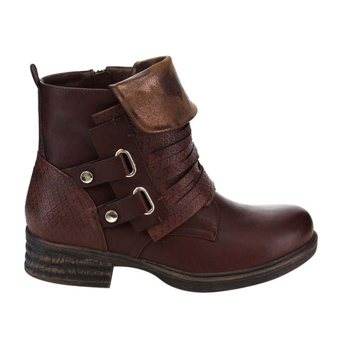 Fold Over Flap Buckled Strappy Biker Moto Bootie Women's Brown