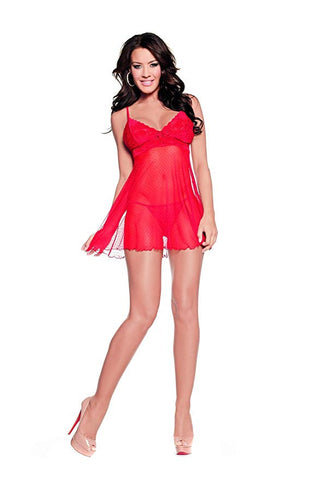 Sexy Sheer Red Lace Baby Doll Lingerie Set Womens