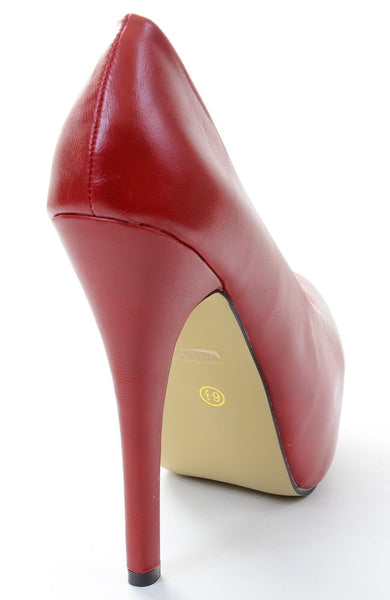 Red Almond Toe Hidden Platform Stiletto Pump