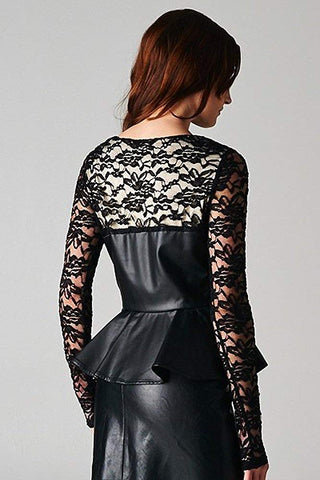 Sexy Black Leatherette Long Sleeve Floral Lace Peplum Blouse
