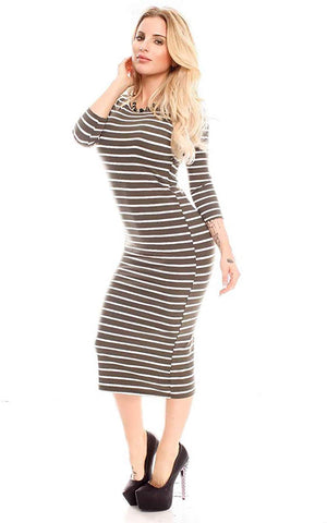 Striped Olive Green Women's Sexy Bodycon Tank Dress Sleeveless Midi Club Dresses