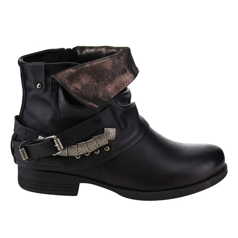 Fold-over Slouchy Buckled Strap Studs Ankle Booties Women's Boots Black