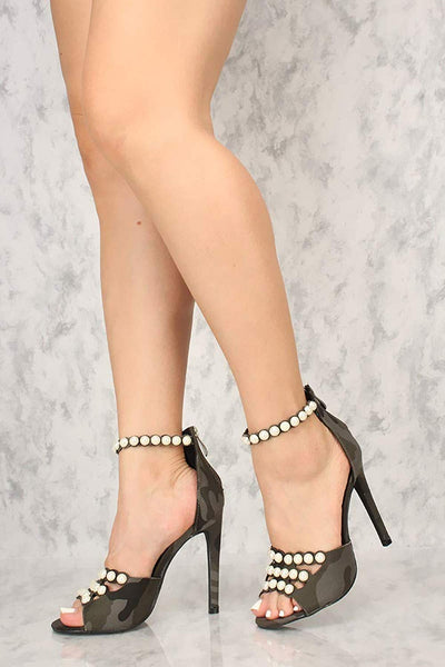 Camo Army Grey Pearl Anklet Strap Stiletto High Heel Meg-47