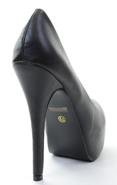 Black Almond Toe Hidden Platform Stiletto Pump