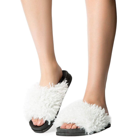 Fuzzy Vegan Shearling Open Toe Footbed Slip On Sandal White