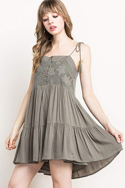 Womens Olive Green Floral Strappy Shoulder Tiered Fashion Dress