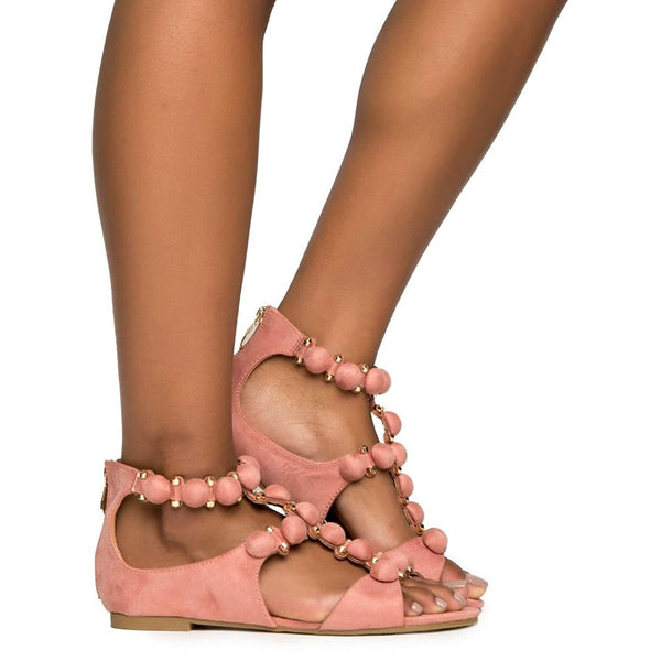 Cape Robbin Sandal-11 Dusty Rose Sandal Edgy Designer Button Stud Flat Sandals