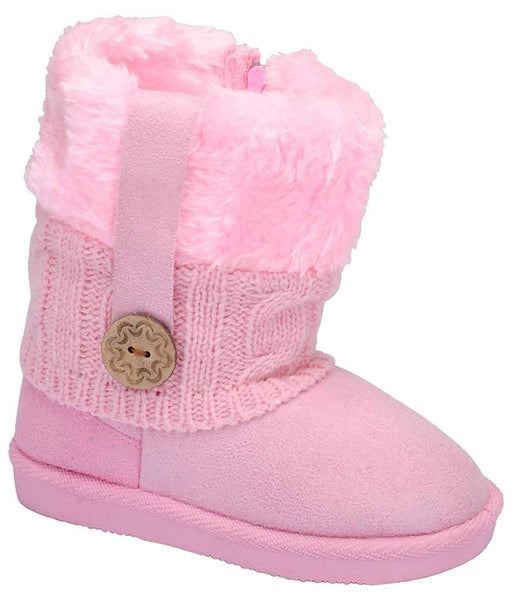 Pink Toddler's Fur Cuff Side Zipper Slip On Snow Ankle Bootie Vegan