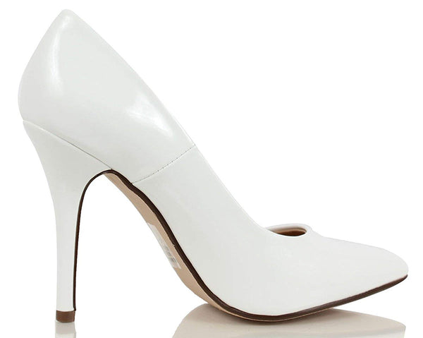 White Patent Shiny Wedding Classic Pointy Toe Heels Women's Shoes
