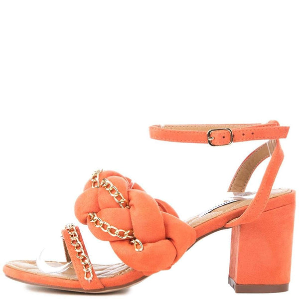 Orange Braided Chain Detail Chunky High Heels Faux Suede