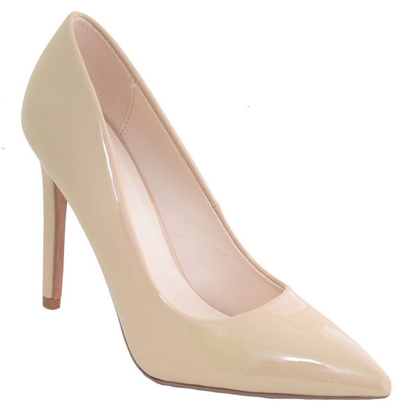 Patent Classic Pointy Toe Women's Pumps Shoes Nude Vegan Patent Leather