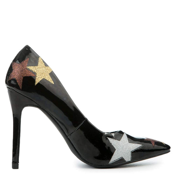 Stars Black Patent Stiletto Women's Pointy Toe High Heels Pump