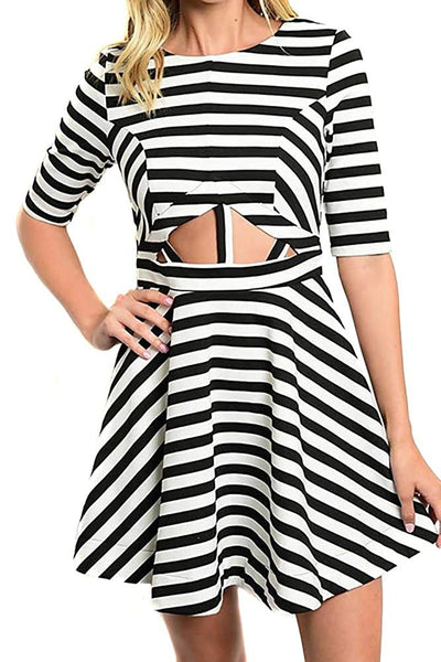 Black White Striped Trendy Short Sleeve A-Line Skater Dress