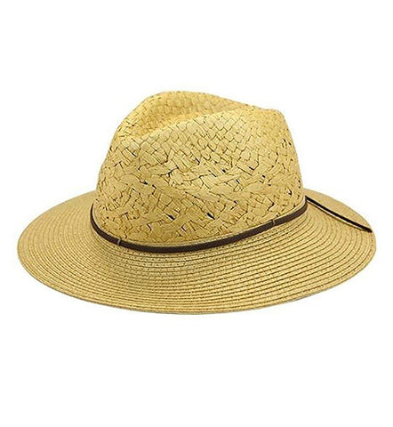 Womens Fashion Straw Panama Hat with Vegan Leather Band Tan